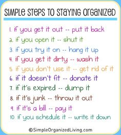 simple steps to staying organized stay organ, idea, stayorgan, simpl step, house rules, the rules, staying organized, print, getting organized