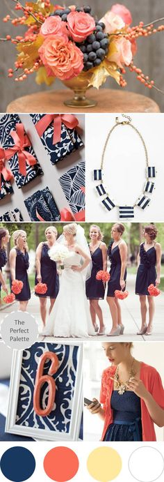 Navy Blue, Coral + Antique Gold! -- love the navy bridesmaid dresses with gray shoes!
