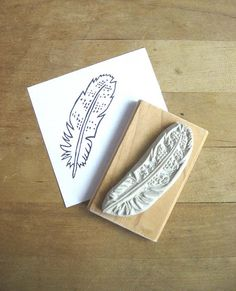 feather hand-carved stamp