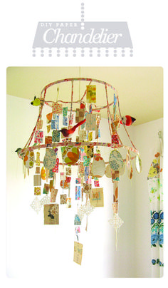 1. Strip the lamp shade down to it's bare-bones wiring.  2. Wrap up the wire in scrap paper, doilies & fabric.  3. Create your dangling pieces by stringing cut-out scraps.  4. Attach strings, birds, butterflies, and whatever else comes to mind!  This project can be as great as your imagination.