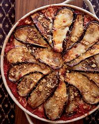 Eggplant Parmesan with Crisp Bread Crumb Topping Recipe AB: DELICIOUS!! Baked the eggplant strips in EVOO with S&P rather than frying.