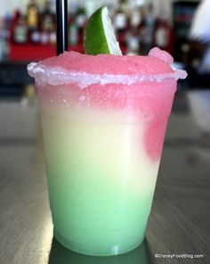 Stoplight Margarita! mix of melon, strawberry, and lime flavors in this frozen drink.