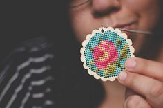 cross stitch pendant by Lisa | goodknits, via Flickr