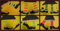 Halloween Math Art:  Kids make pattern strips, then turn into witch legs