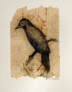 Kim Henkel - a drawing of a bird, a tea bag and some ink and pan pastels