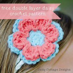 Crochet Double Daisy - Tutorial ❥ 4U // hf