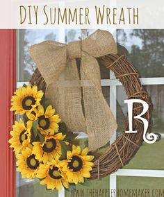DIY burlap and flowers summer wreath