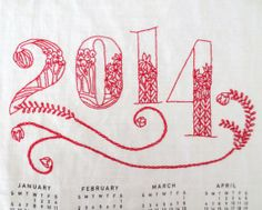 DIY Embroidery Kit - 2014 Tea Towel Calendar, from CuriousDoodles