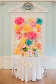 pom backdrop for the sweetheart table, photo by Maria Mack http://ruffledblog.com/colonial-dames-wedding #weddingideas #backdrops