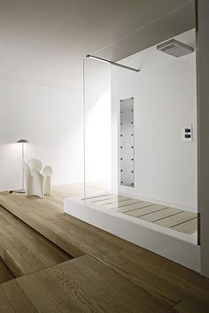 ... shower with wooden floor