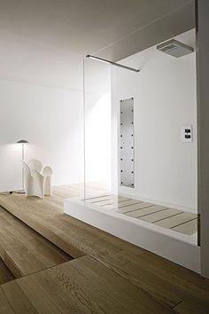 ... shower with wooden floor