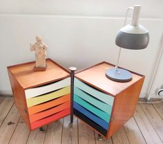 multi-coloured bedside drawers. Love this!