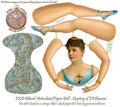 Vintage Paper Doll in new colors by EKDuncan - My Fanciful Muse.  I've updated my vintage paper doll digitally by creating 8 new color versions of her for your crafting pleasure - See them all at http://www.ekduncan.com/2012/10/royal-l-articulated-paper-doll-gets-new.html