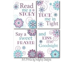 Nursery Art Prints-Read Me A Story Tuck me in Tight-Purple Teal Decor Girls Bedroom-Inspirational Nursery Quote-Baby Girls Room girl room, girl nurseries