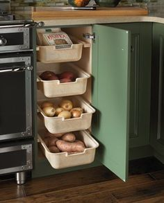 baking pans, kitchen pantries, potato, cabinet storage, drawer, storage ideas, vegetable storage, kitchen designs, kitchen cabinets