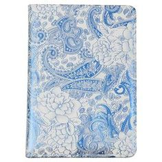 "Faux leather notebook with a paisley motif and ribbon page marker.   Product: NotebookConstruction Material: Faux leatherColor: BlueFeatures:  Printed coverRibbon page marker100 Pages  Dimensions: 7"" H x 5"" W"