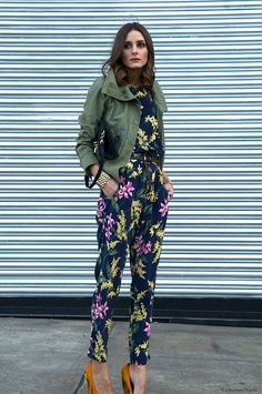 olivia palermo oliviapalermo, jacket, fashion, floral prints, jumpsuit, outfit, street styles, olivia palermo, jumper