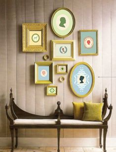 wall art, painted frames, wall decor, wall frames, bench