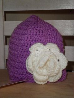 Ladies Purple Hat with Flower $8.00