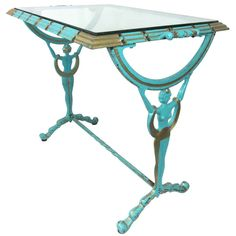 1920-30s Art DecoTurquoise & Gold Metal Glass Table