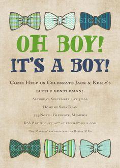 baby boy shower invitation with bow ties, little gentleman theme, digital, printable file (item 1246e). $13.00, via Etsy.