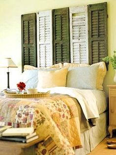 I absolutely love decorating our house! Especially our bedroom. I was so excited when I found 6 window shutters that I can paint green and ivory so that I can recreate this idea. Bedroom colors are yellow and green. Love a garden/outdoors theme.