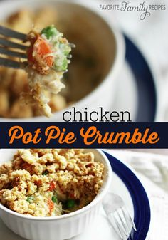 The crumble topping is a nice change from using a pie crust. #chickenpotpie #chickenpotpiecrumble