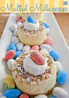 Mini Malted Milk PHILADELPHIA Cheesecake #recipe #easter | www.inkatrinaskitchen.com
