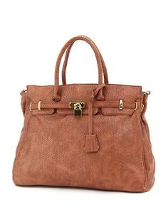 I ordered the eggplant color of this bag.  It is on the large size which is fashionable now.  Very chic and the leather has a nice feeling.  For those that leave a negative comment about the leather, this is a $60 bag and for what you pay you get a very nice product.  Inside lining of the bag is nice and not cheap looking at all.