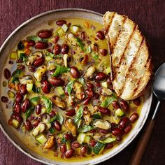 Borlotti Bean and Mussel Stew with Zucchini and Grilled Bread