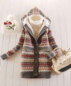 Women's Snowflake Printed Fleece Thickening Hooded Sweater