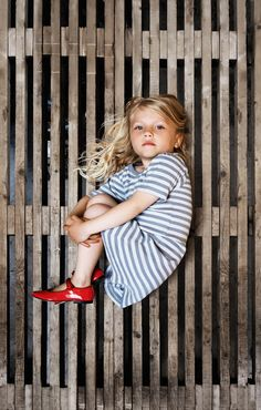 stripes + red shoes