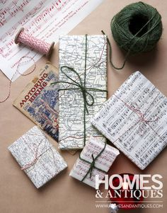 Use old maps and music sheets as wrapping and tie with coloured string.