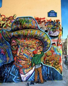 A Van Gogh-inspired work by Nowart.     Who inspires you?     Source: http://www.mymodernmet.com/profiles/blogs/hyper-realistic-mural-depicts-beautiful-street-art-process