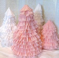 xmas trees, craft, pink christmas, ruffl, christma tree, pink cupcakes, paper trees, christmas trees, crepe paper