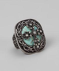 Turquoise Cross Stretch Ring - Gabriel Jewelry - Originally 46 but $21.99 on zullily