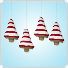 Gingerbread Knitted Christmas Tree Ornaments