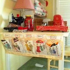 DIY Vintage Pattern Sewing Room Organizer