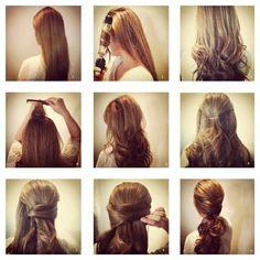 really want to try this poni, hair tutorials, bridesmaid hair, long hair, curl, wedding hairs, bobby pins, hairstyl, prom
