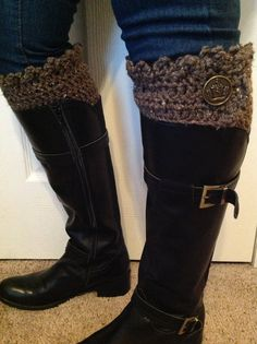 Crocheted Button Top Boot Cuff Boot Topper by shorethingdesigns