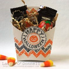 Such a cool Halloween treat holder by Laura O'Donnell! She die-cut the treat box and and stamped it with the Chevrons Two Step stamp set (from TechnqiueTuesday.com).