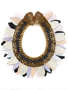 "Lizzie Fortunato's Monet's Garden Necklace Gold plated brass chain and pastel and grey leather ""feather"" necklace"