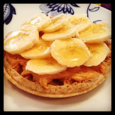 A lovely breakfast for my day off. Two nutrigrain waffles (there is only one pictured but I had two) with two servings of PB2, one tablespoon honey, and 3/4s of a banana. It was filling and delicious! Each one was 4PP.