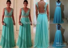 Best Real Image Hot Sales Evening Dresses Sexy V Neck Lace Beads Sash Floor-Length Backless Prom Dresses BO1219 Online with $119.0/Piece | D...