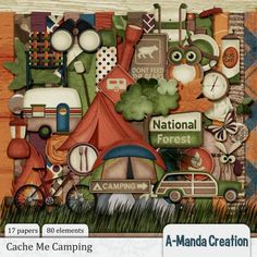 """Load up the camper, pack the lantern and bike.  Build a big fire, we'll roast wieners tonight!  Don't feed the bears. Don't stray from the trail, if you find the prize, give a big yell!  Cache Me Camping, in the woods or a park, it's a fun family game.  Are you ready?  Let's start!  The Cache Me Camping Page Kit has everything you need to make beautiful pages.   The Page Kit Contains •80 Elements •17 Papers 12""""x12"""" papers •  1 Complete Alpha (includes upper, lower, numbers, and some symbols)"""