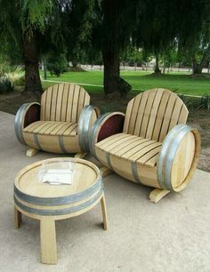 Wine barrel seats