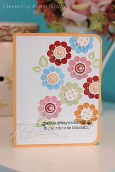card created by @Aaron Brown.  Pretty! - I used the Rock the Block stamp to create this great Thank you card. I was inspired by this card and it's wonderful colors.