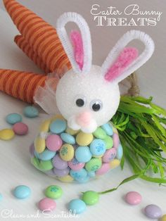cleanses, bunni treat, easter crafts, easter bunni, easter treat, easter bunny, diy projects, pipe cleaner, kid