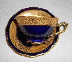 Waldershof Bavaria Germany Handarbeit Echt Cobalt 22kt Gold Tea Cup Saucer |