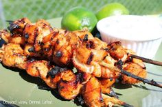 Chipotle Chicken Skewers with Creamy Cilantro-Lime Dip